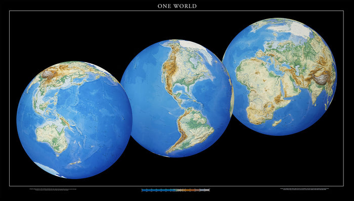 "One World Map Topographic Wall Map by Raven Maps, 36"" x 64"""