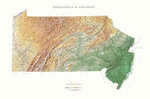 "New Jersey & Pennsylvania Topographical Wall Map By Raven Maps, 36"" X 54"""