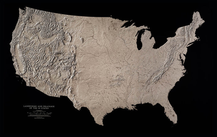 "United States Landforms and Drainage Wall Map by Raven Maps, 37"" x 58"""