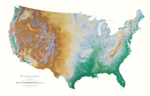United States - Elevation Tints Map - Elevation Tints is the classic Raven Wall Map. It uses shaded relief to portray the land and combines shading with elevation tints-- a sequence of delicate hues and colors that portrays landforms--much more clearly than the abstraction of contour lines. Elevation colors make mountains, highlands, and valleys immediately obvious.
