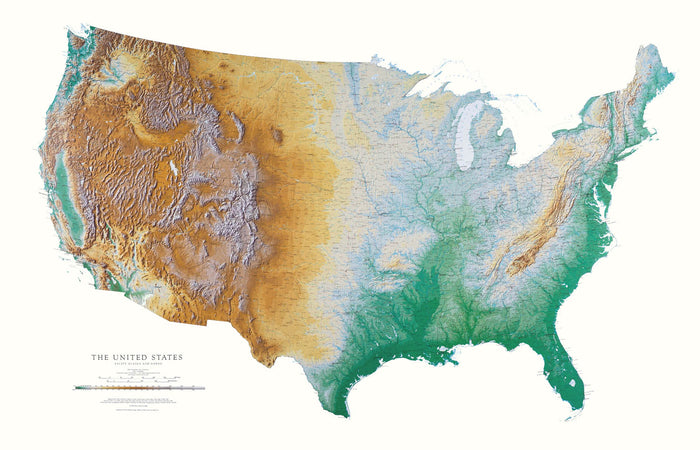 "United States Topographic Wall Map by Raven Maps, 37"" x 58"""
