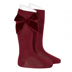 Side Velvet Bow Knee-High Socks in 575 Garnet Red & 795 Pine Green