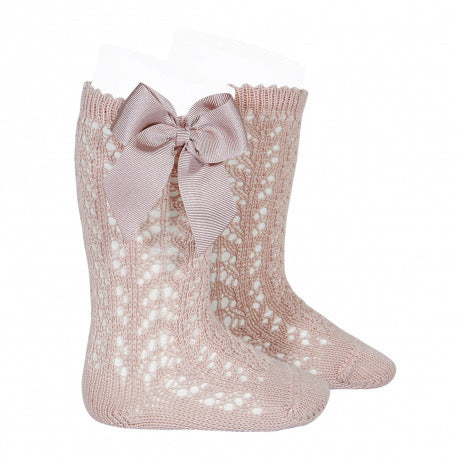 Cotton Openwork Knee High Socks with Bow, in Old Rose 544