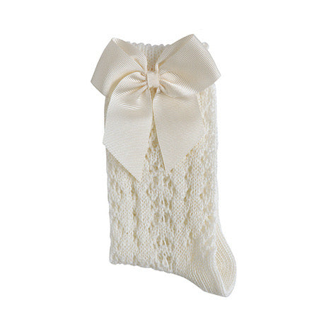 Cotton Openwork Knee High Socks with Bow, in Cream 303