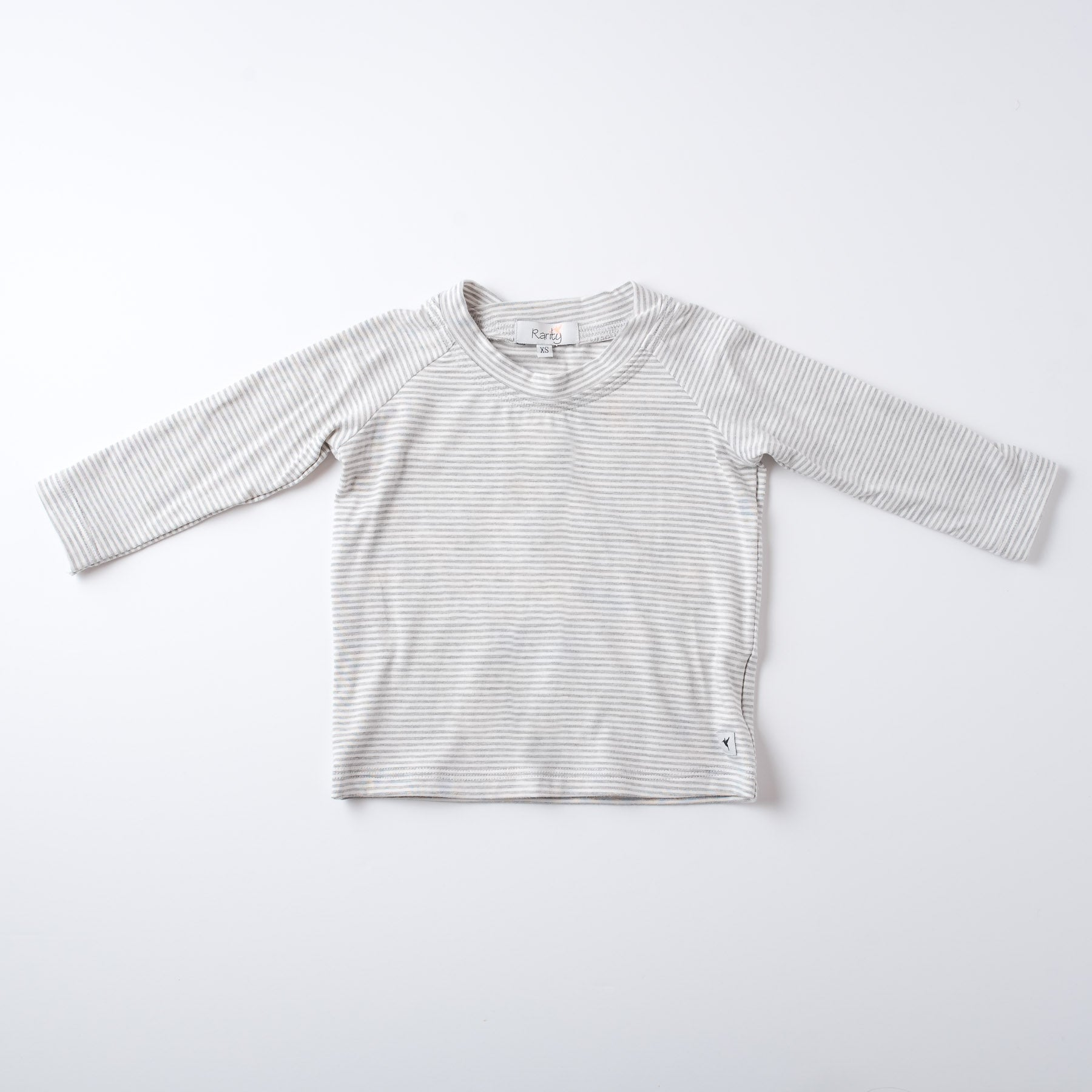 Long Sleeved organic cotton T-shirt in grey & white stripe
