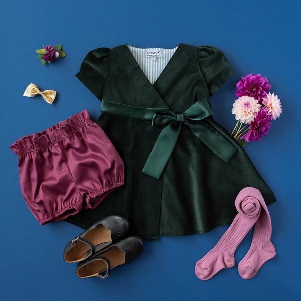 Wrap Dress in Hunter Green Velveteen (Made to Order)