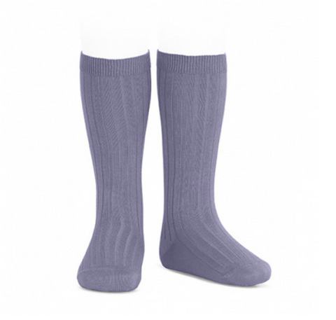Ribbed, Knee-High Socks LAVENDER