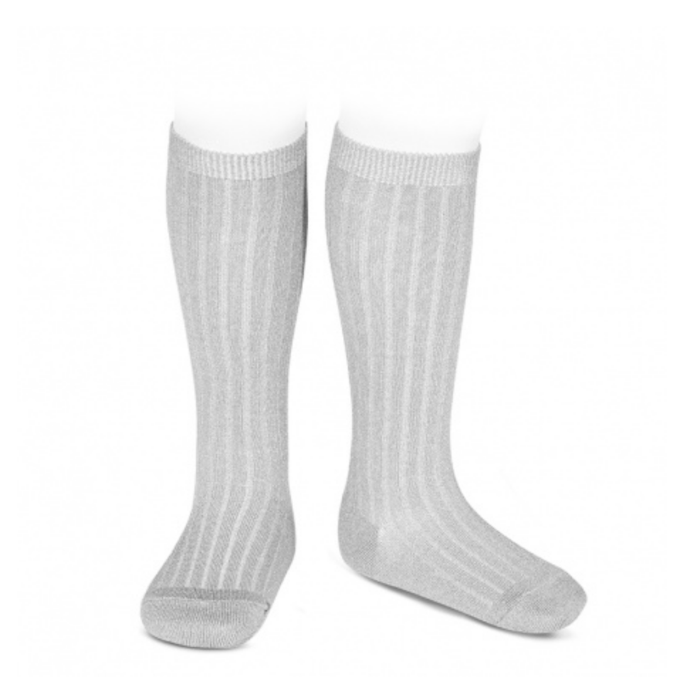 Ribbed, Knee-High Socks ALUMINUM
