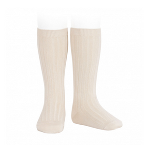 Ribbed, Knee-High Socks LINEN