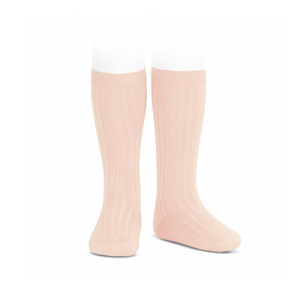 Ribbed, Knee-High Socks NUDE