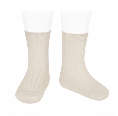 Ribbed, Short Socks LINEN