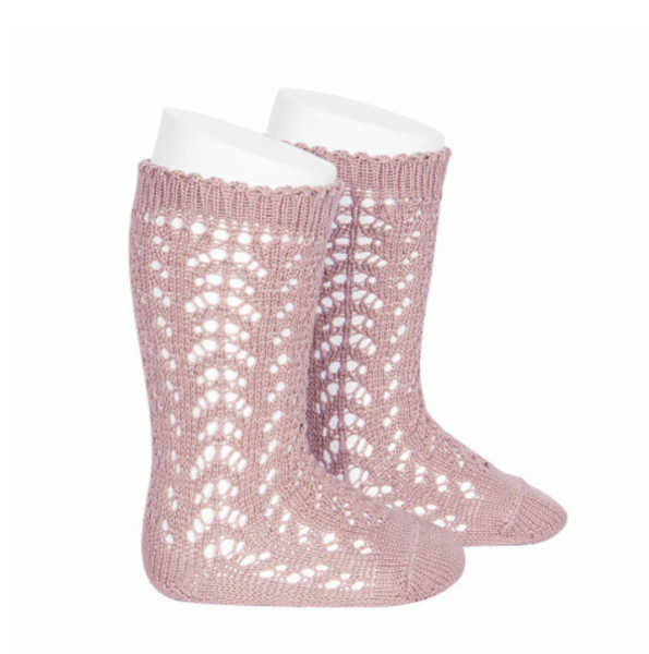 Openwork Knee-High Socks PALE PINK