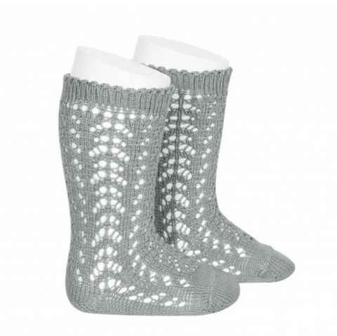 Openwork Knee-High Socks DRY GREEN