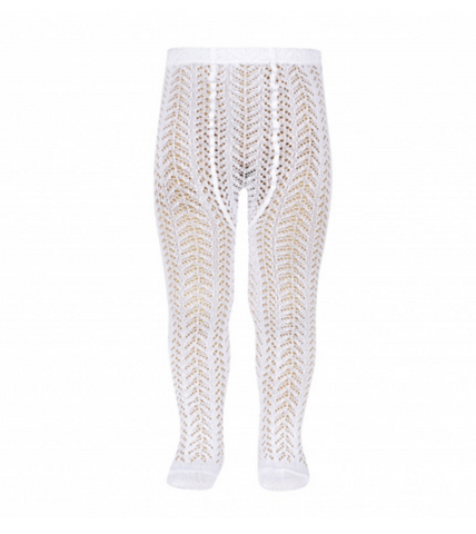 Openwork Crochet Tights White