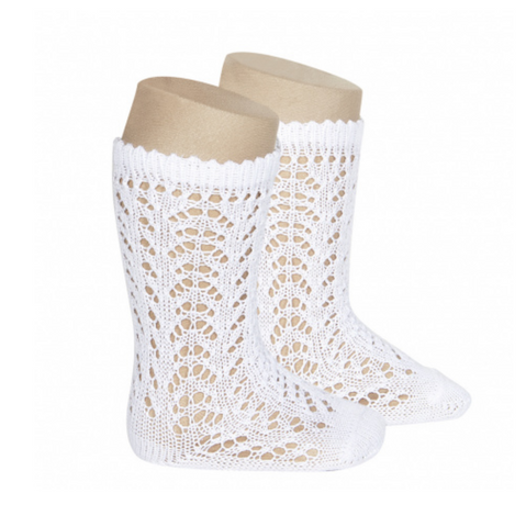 Openwork Knee-High Socks white