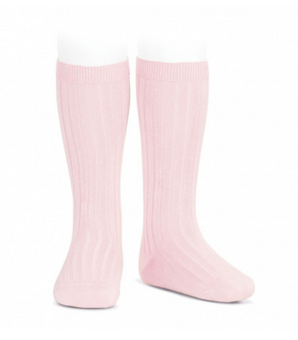 Ribbed, Knee-High Socks PALE PINK