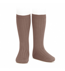 Ribbed, Knee-High Socks PRALINE