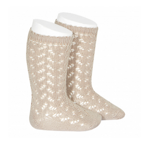 WARM Openwork Knee-High Socks STONE