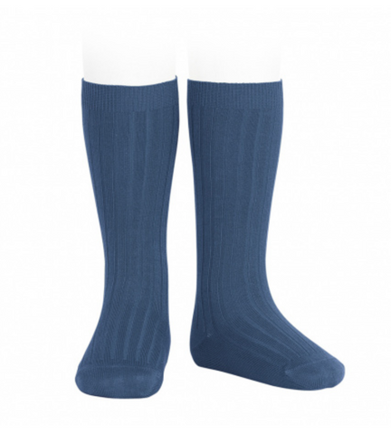 Ribbed, Knee-High Socks COBALT BLUE