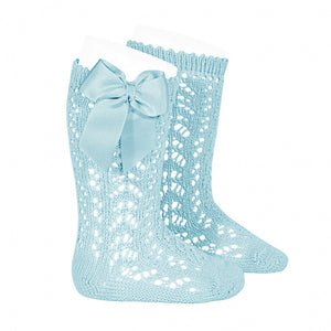 Openwork Knee High Socks with Bow, in Aquamarine 725