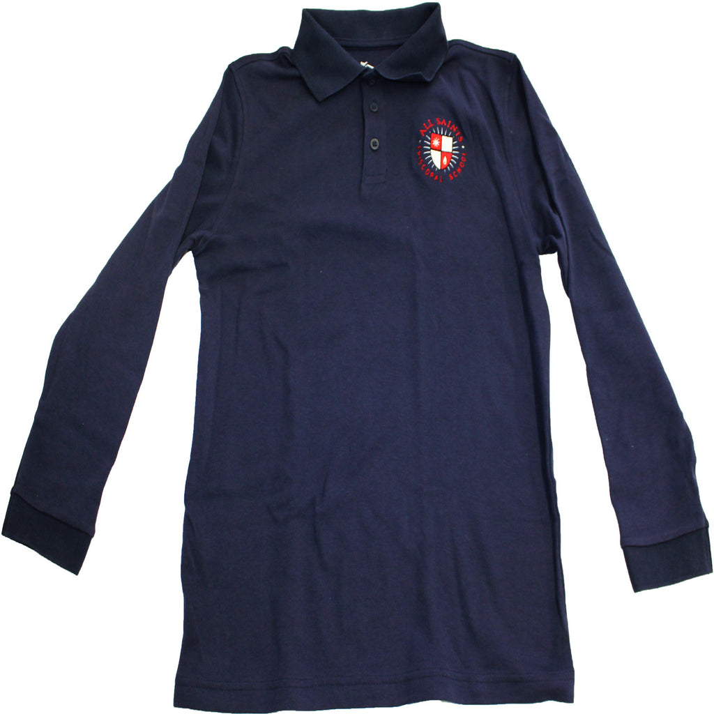 Adult Navy Long Sleeve Polo