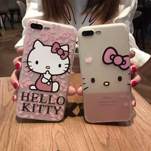 3D Design Hello kitty Silicon Case for iphone 6 6s 4.7 7  7 plus 5.5