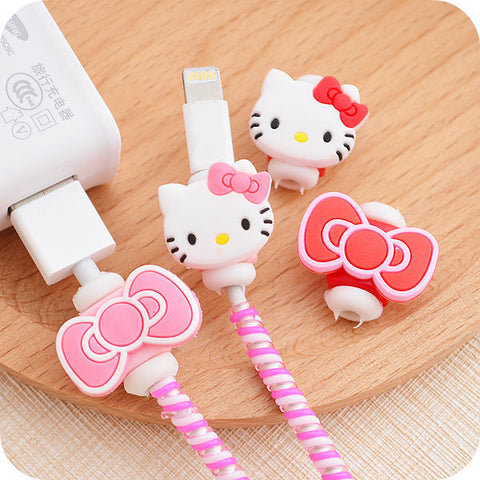 Hello kitty USB cable Earphones Protector for iPhoneSE/5s 6/6s Android Cable Data Line Protection Sleeve
