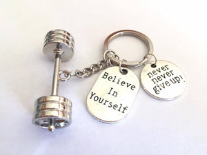 3D Barbell with Believe in Yourself  Never Never Give up Keychain –  Marcherry - Women s Fashion 063531990