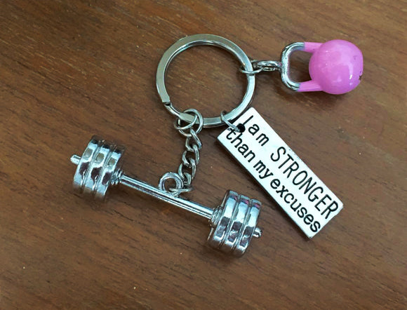 3D Barbell with I am stronger than my excuses/Pink Kettlebell Keychain