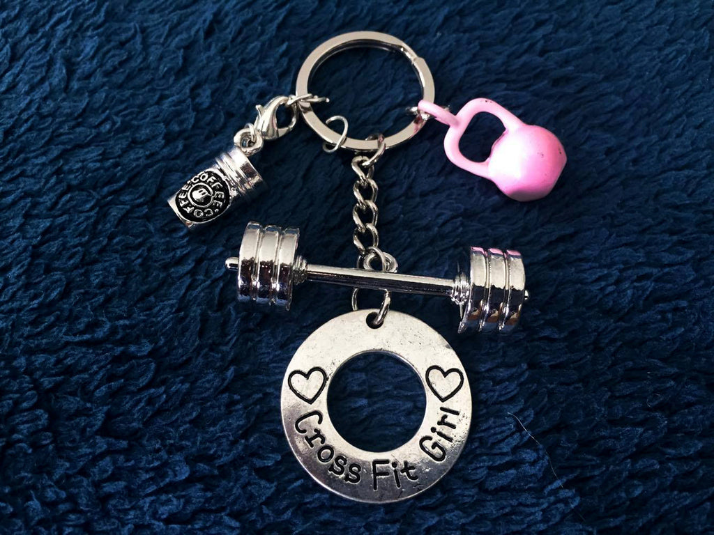 3D Barbell with CrossFit Girl/ Coffee Charm/Pink Kettlebell Keychain