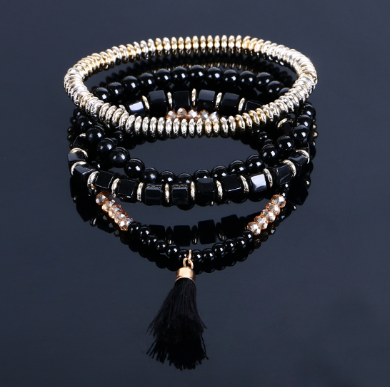 Multilayer Beaded Tassel Elastic Charm Bracelets
