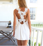 White Mini Backless Cross Straps Dress