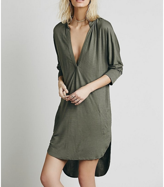 Loose Asymmetric long t shirt Dress Knitwear Cotton fabric