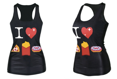 3D I love Pizza- Fries - Donuts Tank