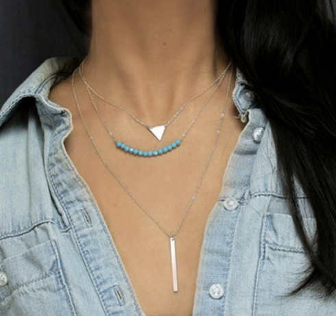 Multilayer Turquoise Beads Clavicle Necklace