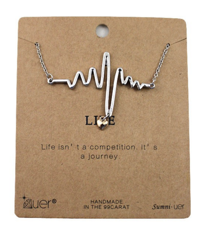 Simple Rhythm and memory short paragraph Pendant Long Strip Necklace