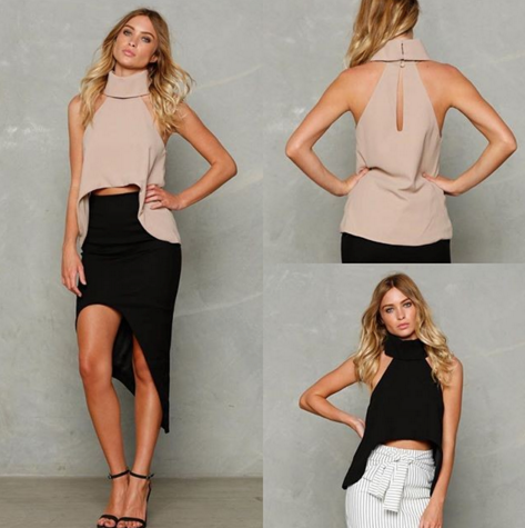 Halter Top Cropped Femme Turtleneck