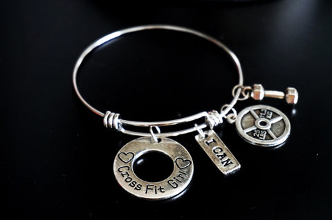 Expandable Wire Bangle CrossFit Girl with fitness Charms