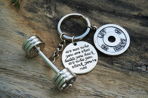 3D Barbell with It's not who you are that holds you back it's who you think you're not/ LIFT HEAVY 45lbs Keychain