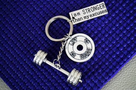 3D Barbell with I AM STRONGER THAN MY EXCUSES/ LIFT HEAVY 45lbs Keychain