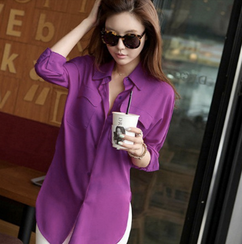 Purple Chiffon Long Sleeve