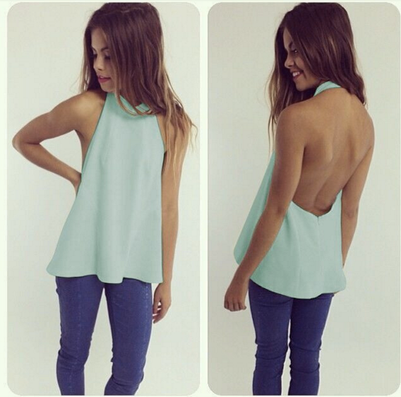 Sexy Backless Chiffon Top
