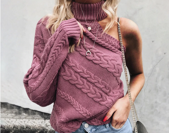 One Shoulder Turtleneck Oversize  Sweater