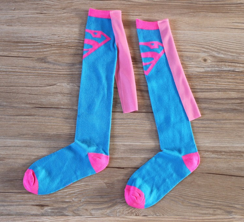 Pink/Blue Superman with Cape Knee Socks