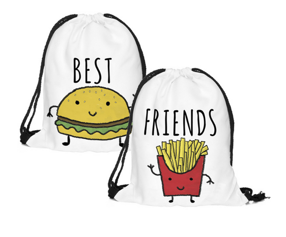 2pcs(pair) BESTFRIEND Drawstring