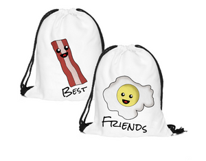 2pcs(pair) BESTFRIEND-bacon and egg Drawstring