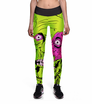 Big Eye Monster Green High waist Elastic Gym Leggings