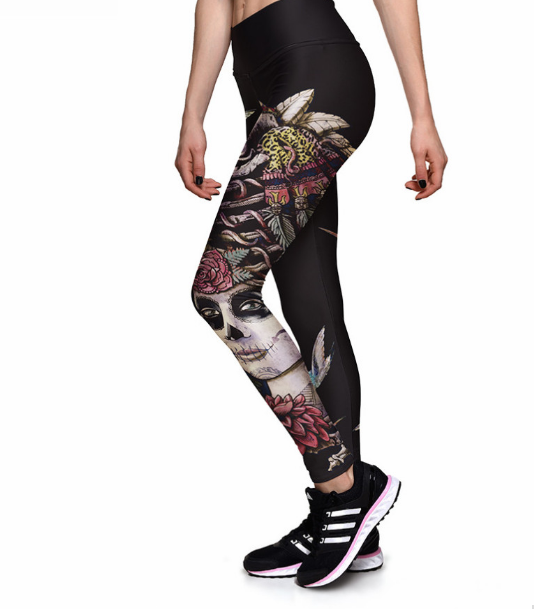 Bird Digital Print High waist Elastic Gym Leggings