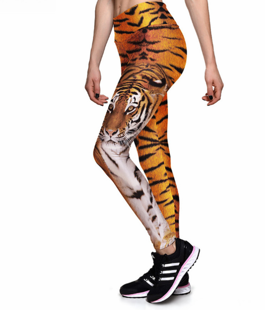 Forest King Tiger High waist Elastic Gym Leggings
