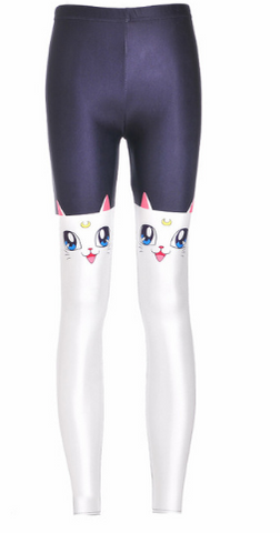 Half Cat Elastic Gym Leggings